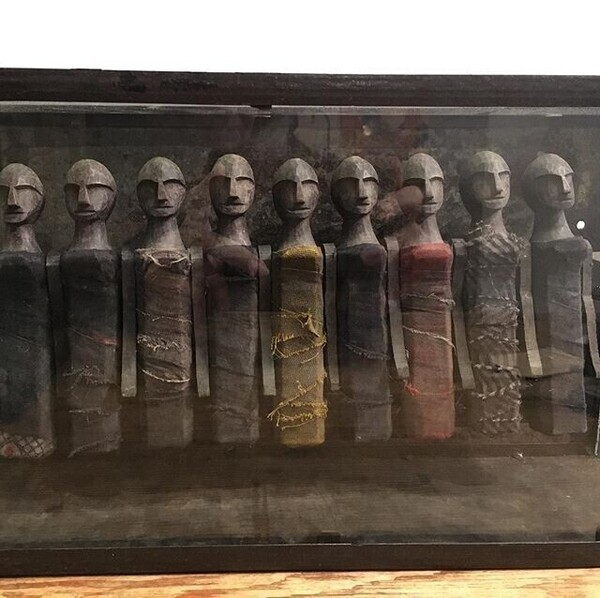 Old Nagarland dolls in glassbox
