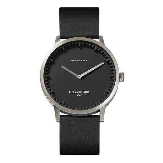 tube watch T40 steel/black case/black leather strap